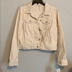 Free People White Jean Jacket
